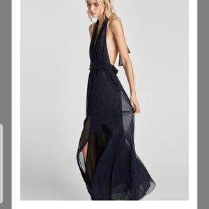 NWT Zara Basic Halter Backless Gown with Slit